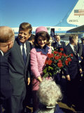 Pres. John F. Kennedy and Wife Jackie Arriving at Love Field, Campaign Tour with VP Lyndon Johnson Premium Photographic Print by Art Rickerby