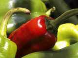 Red and Green Peppers Grocery Market Fotografie-Druck