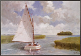 Catboat Through the Marsh Framed Canvas Print by Ray Ellis
