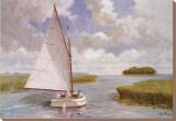 Catboat Through the Marsh Stretched Canvas Print by Ray Ellis