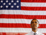 Barack Obama in front of US Flag, Flint, MI Photographic Print