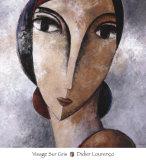 Visage Sur Gris Print by Didier Lourenco