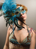 Woman with Tattoos Wearing a Masquerade Mask Photographic Print