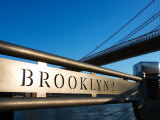 Metal Sign for the Brooklyn Bridge in New York Photographic Print