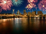Celebration with Exploding Fireworks Along Skyline of Portland, Oregon Photographic Print