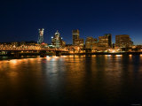 Skyline of Portland, Oregon at Night with Illuminated Lights from Buildings and High-Rises Photographic Print