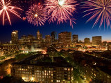 Celebration with Exploding Fireworks over Skyline of Boston, Massachusetts Photographic Print