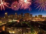 Celebration with Exploding Fireworks over Skyline of Boston, Massachusetts Photographic Print