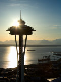 Silhouette of Space Needle Building in Seattle, Washington at Sunset Photographic Print