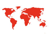 Carte du monde en rouge Affiche par  Avalisa