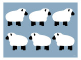 Blue Sheep Family Print by  Avalisa