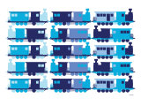 Multi Train Blue Poster by  Avalisa