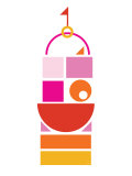 Orange Pink Large Castle Posters by  Avalisa