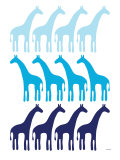 Blue Giraffe Family Posters by  Avalisa