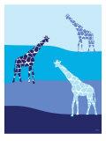 Blue Giraffes on Blue Plains Poster af  Avalisa