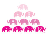 Pink Counting Elephants Art Print by  Avalisa