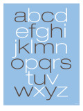Lower Case Alphabet on Blue Art by Avalisa 
