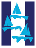 Blue Sailboats Posters by  Avalisa