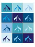 Blue Giraffe Squares Reproduction giclée Premium par  Avalisa
