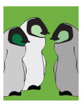 Baby Penguins in Green Posters av Avalisa