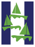 Green Sail Boats Print by  Avalisa