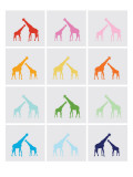 Rainbow Giraffe Squares on Grey Poster by Avalisa