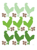 Green Chicken Family Poster by  Avalisa