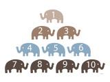 Brown Counting Elephants Reproduction giclée Premium par  Avalisa