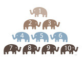 Brown Counting Elephants Prints by  Avalisa