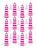 Pink Light House Pattern Print by  Avalisa