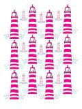 Pink Light House Pattern Print by  Avalisa