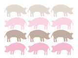 Pink Pig Family Print by  Avalisa