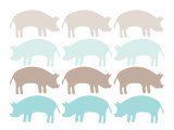 Seagreen Pig Family Kunstdruck von  Avalisa