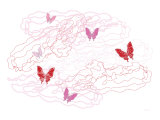 Pink Butterfly Trails Posters by  Avalisa
