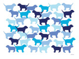 Blue Puppies Pattern Affiche par  Avalisa