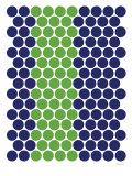 Blue Green Dots Kunstdruck von  Avalisa
