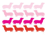 Pink Daschund Family Art by Avalisa