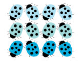 Blue Lady Bug Family Print by  Avalisa