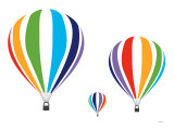 Rainbow Hot Air Balloons Poster van Avalisa