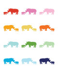 Rainbow Rhinos Posters by  Avalisa