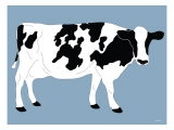 Blue Dairy Cow Poster by  Avalisa