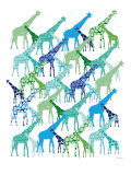 Cool Giraffe Pattern Art Print by  Avalisa