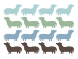 Blue Dashund Family Prints by Avalisa