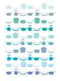 Blue Pots and Pans Print by Avalisa