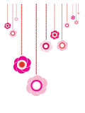 Pink Hanging Flowers Print by  Avalisa