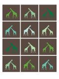 Green Giraffe Squares Poster par  Avalisa