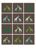 Green Giraffe Squares Poster by  Avalisa
