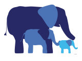 Blue Elephants Poster van Avalisa