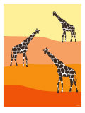 Orange Giraffe Family Poster by  Avalisa
