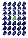 Navy Green Regatta Print by  Avalisa